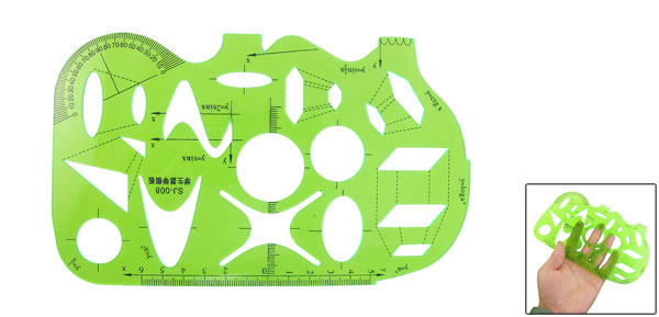 Clear Green Educational Stationery Drawing Geometry Template Ruler Measure Tool