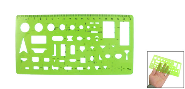 Clear Green Educational Stationery Rectangular Template Ruler Measure Tool