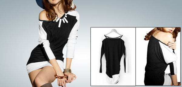 Women Color Block Long Sleeves Boat Neck Mini Dress Black XS