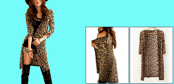 Ladies Black Brown Leopard Pattern Front Opening 1/2 Sleeve Casual Coat Xs