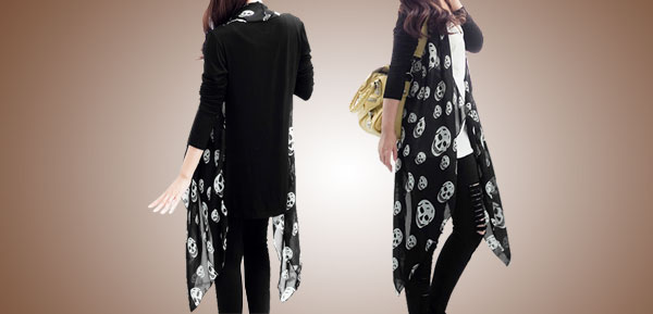 Ladies Long Sleeves Skull Head Pattern Open Front Casual Coat Black Xs