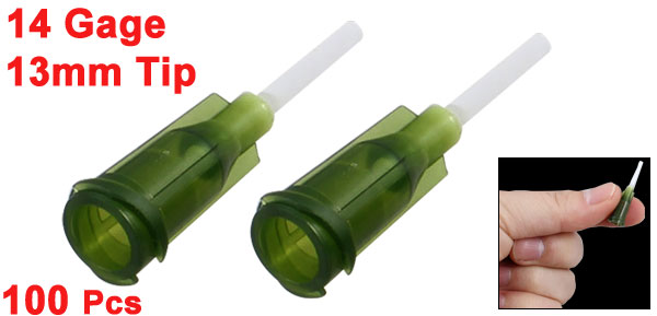 100 Pcs Industrial PVC 1.7mm OD Tips 14G Dispenser Needle Army Green