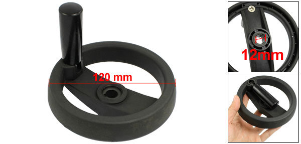 120mm Diameter 73mm Length Black Plastic Revolving Hand Wheel