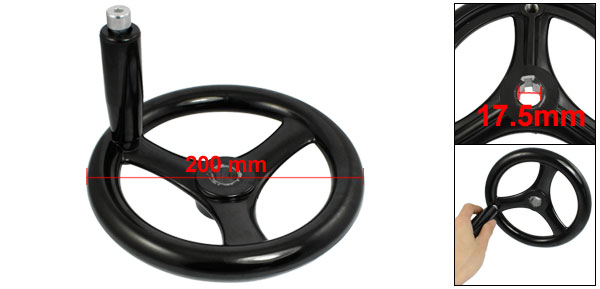 Black 18mm x 200mm 3 Spoke Hand Wheel w Revolving Handle