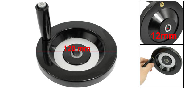 Milling Machine Rear Ripple Hand Wheel 120mm Diameter w 80mm Long Revolving Handle