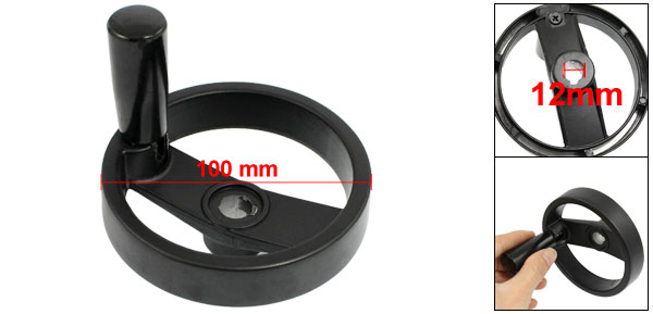 Milling Machine Black Plastic 10mm Diameter Hand Wheel 60mm Long