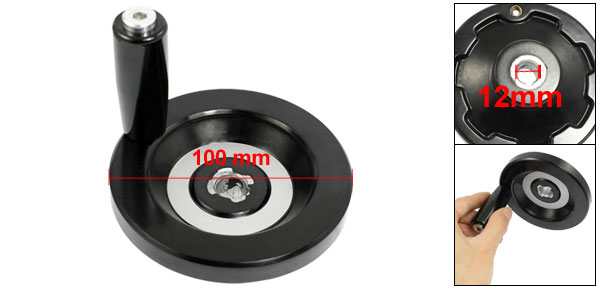 Milling Machine Rear Ripple Hand Wheel 100mm Diameter w 70mm Long Revolving Handle