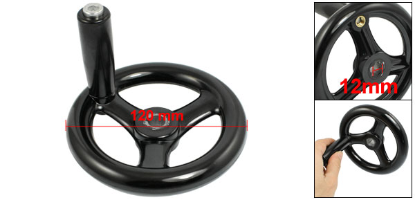 Black 12mm x 120mm 3 Spoke Hand Wheel w Revolving Handle