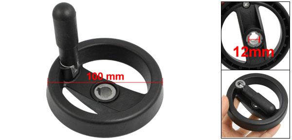 Milling Machine Black Plastic 100mm Diameter Hand Wheel
