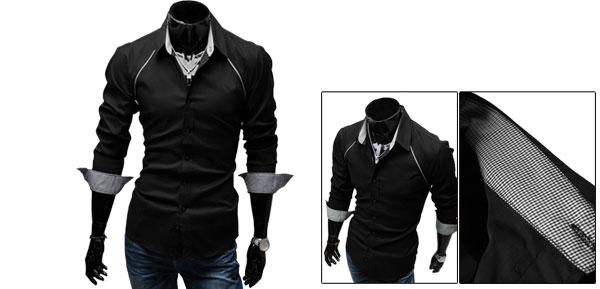 Men Stylish Black Point Collar Long Sleeve Button Closure Round Hem Casual Shirt M