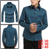 Casual Men Long Sleeve Button Up Point Collar Teal Blue Shirt Top...