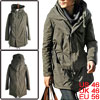 Men Convertible Collar Adjustable Drawstring Slant Zip Dark Khaki...