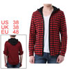 Mens Contrast Check Pattern Black Red Stylish Button Closure Hood...