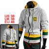 Mens Light Gray Convertible Collar Patch Detail Casual Hoodie M