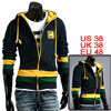 Mens Navy Blue Long Sleeves Ribbing Trim Casual Hooded Coat M