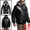 Mens Black Convertible Collar Zip Up Winter Thick Wadded Coat M