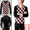 Mens Red White Argyle Pattern Casual Pullover Autumn Shirt S