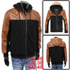 Men Zip Up Side Pockets Faux Leather Panel Rib Hem Hoodie Brown B...