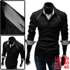 Men Stylish Black Point Collar Long Sleeve Button Closure Round Hem Casual Shirt M