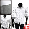Men Fashion White Long Sleeve Single Breasted Buttoned Cuffs Leis...