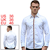 Men NEW White Point Collar Long Sleeve Button Closure Front Stripes Detail Shirt S