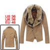 Man Convertible Collar Zip Up Khaki Fleece Blazer Coat w Detachab...