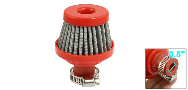Adjustable Hose Clamp Car Truck Cone Air Filter Red 12mm 0.5