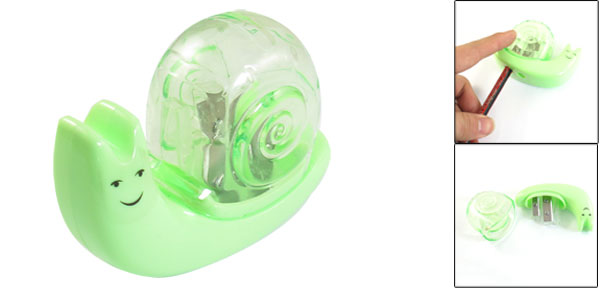 Portable Stationery Snail Shape Dual Holes Green Clear Manual Pencil Sharpener