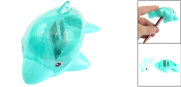 School Office Dolphin Design 2 Holes Green Plastic Shell Pencil Sharpener