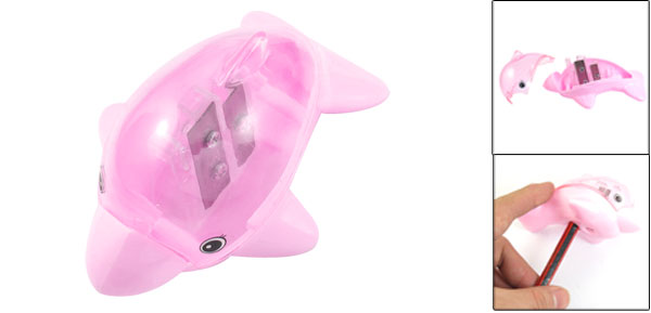 Students Stationery Dolphin Shaped 2 Holes Pink Plastic Pencil Sharpener