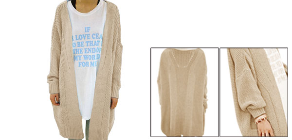Ladies Batwing Pockets Ribbed Knitting Front Opening Cardigan Loose Jumper Apricot L