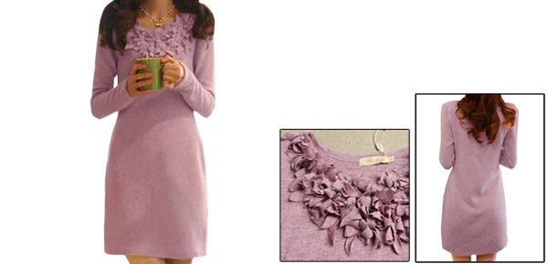 Ladies Pink Scoop Neck Plastic Pearl Decor Fabric Flower Embroidery Dress Xs