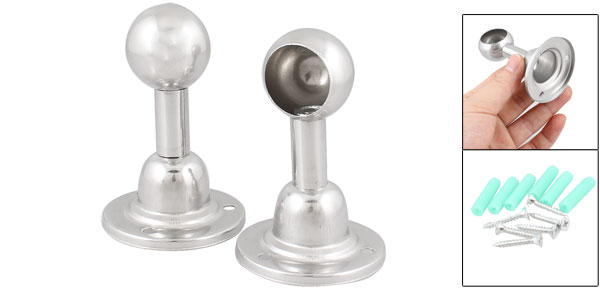 Towel Clothes Hang Bar 22mm Dia Silver Tone Hemispherical Socket Pair