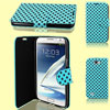 Polka Dots Pattern Teal Blue Flip Case Cover for Samsung Galaxy Note II N7100