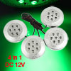 4 Pcs Green 7 LED Car Trailer Wheel Hub Light Decorative Lamp Wir...