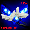 2 Pcs Blue 6 LED Car Front Fender Bumper Side Marker Light Lamp D...