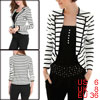 Ladies White Black Bracelet Sleeves Stripes Pattern Casual Blazer...