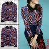 Ladies Geometric Prints Long Sleeves Back Toggle Closure Fashion ...
