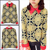 Ladies Novelty Prints Chiffon Long Sleeve Point Collar Chic Shirt...