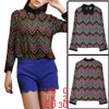 Ladies Wavy Prints Long Sleeve Chiffon Point Collar w Metal Stars Chic Shirts Orange XS