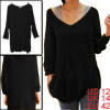 Ladies Deep V Neck Long Sleeves Loose Tunic Sweater Black L