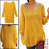 Ladies Yellow Softness Scoop Neck Long Sleeve Pullover Knit Tunic Top L
