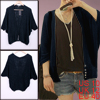 Ladies Knitting Hem Deep V Neck Buttons Down Stretchy Cardigan Lo...
