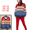 Ladies Deer Snowflakes Stretchy Long Sleeve Knitted Winter Loose ...
