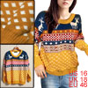 Women Pullover Warm Knitting Hem Stretch Long Sleeve Snowflakes W...