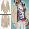 Ladies Stretchy V Neck Cable Knitted Winter Loose Cardigan Sweater Apricot L