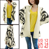 Ladies Geometric Prints Stretchy Batwing Knitted Loose Cardigan Sweater Apricot L