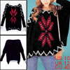 Ladies Geometric Prints Stretchy Furry Knitted Winter Pullover Lo...