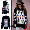 Ladies Black Round Neck Casual Pullover Novelty Prints Sweater S