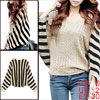 Ladies Stripes Stretchy Ribbed Knitted Winter Pullover Loose Sweater Black Apricot XS